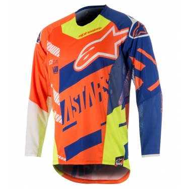 Alpinestars Youth Racer Shirt Screamer Fluo Orange-Blue-White-Fluo Yellow Holiday Release 2018