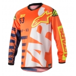Alpinestars Racer Shirt Braap Fluo Orange-Dark Blue-White 2018 L # SALE