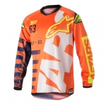 Alpinestars Youth Racer Shirt Braap Fluo Orange-Dark Blue-White Kids 2018