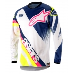 Alpinestars Youth Racer Shirt Supermatic White-Dark Blue-Fluo Yellow Kids 2018
