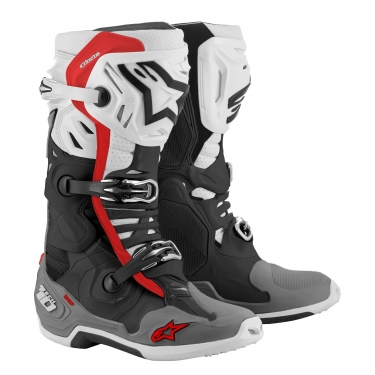 Alpinestars Tech 10 Supervented Boots Black-White-Gray-Red 2021