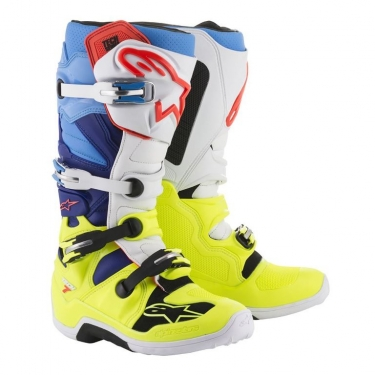 Alpinestars Tech 7 Boots Yellow-White-Blue-Cyan 2018-2019