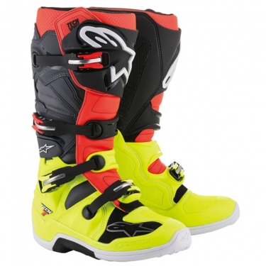 Alpinestars Tech 7 Boots Yellow-Red-Gray-Black 2018-2019