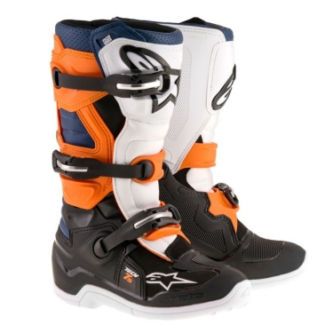 Alpinestars Youth Tech 7S Stiefel Black-Orange-White-Blue Kids