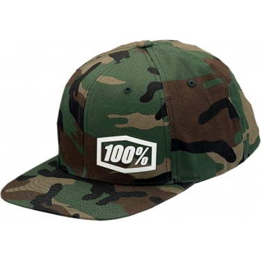 100% Snapback Hat Machine Camo