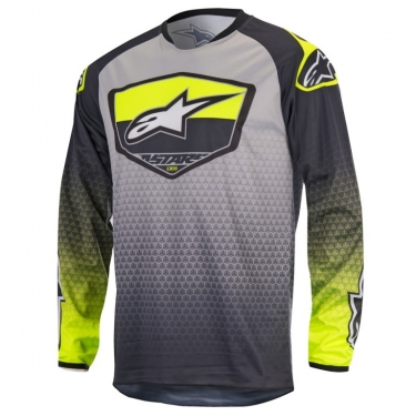Alpinestars Youth Racer Shirt Supermatic Anthracite-Yellow Fluo-Light Grey Kids 2017 # SALE