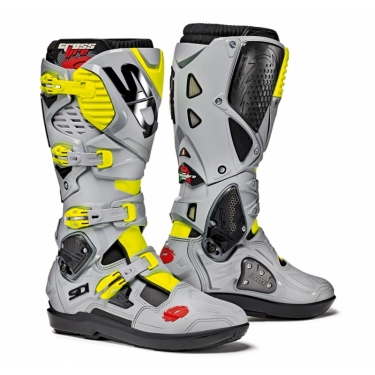 Sidi Crossfire 3 SRS Boots Black-Ash-Fluo Yellow