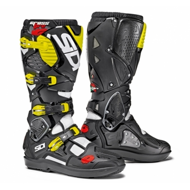 Sidi Crossfire 3 SRS Boots White-Black-Fluo Yellow